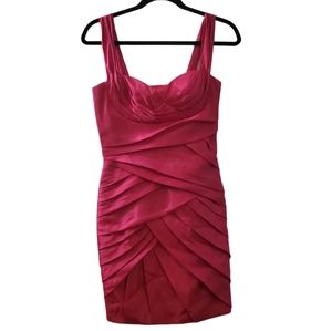 Morrell Maxie Hot Pink  Runched Midi Dress 2